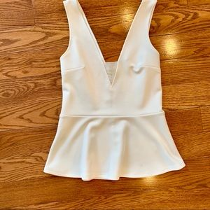 Express White Peplum Tank with Mesh Cutout Small